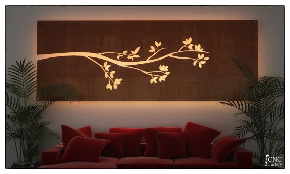 WALL LIGHT PANEL silhouette cnc template cutting by CncFactory