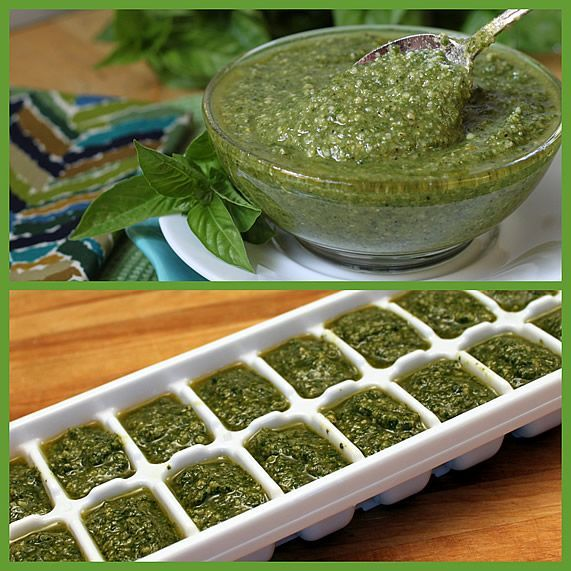 Freeze pesto and other sauces in ice cube tray then transfer to labeled plastic bags.