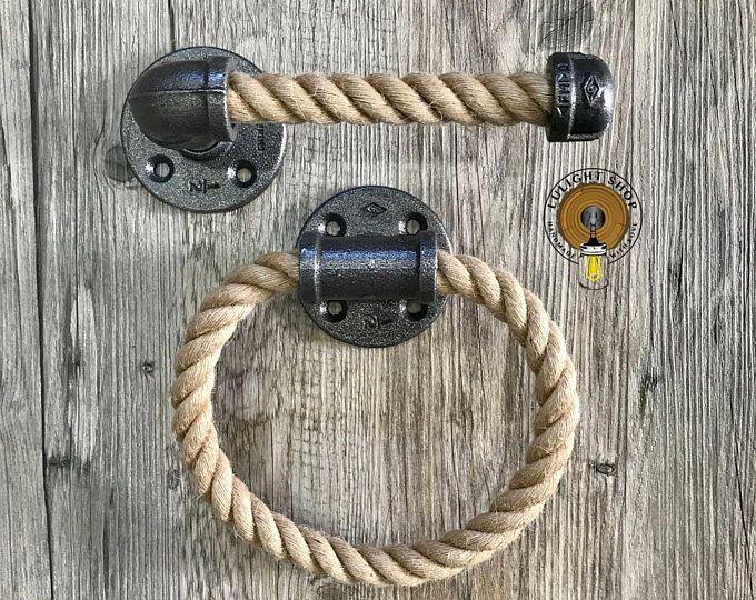 Rustic Industrial Modern Rope Towel Ring Nautical Design Towel