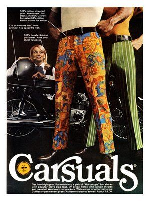 Carsuals - 1969 ad: Horoscopes, 70S Fashion, But Pants, Carsual, Men Fashion, 1970S, 1960S Men, Fashion Ads, Vintage Ads