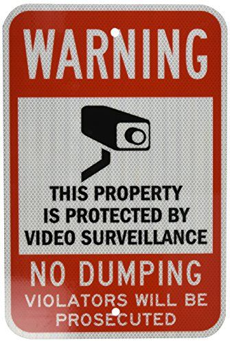 "SmartSign Security Sign, Legend ""Warning: Video Surveillance No Dumping"", Black/Red on White  Legend ""WARNING THIS PROPERTY IS PROTECTED BY VIDEO SURVEILLANCE NO DUMPING VIOLATORS WILL BE PROSECUTED""Lyle signs supplies your sign with radius corners for safety; holes punched for post mountingLyle Ultimate signs have a 12 year durability  http://industrialsupply.mobi/shop/smartsign-security-sign-legend-warning-video-surveillance-no-dumping-blackred-on-white/"