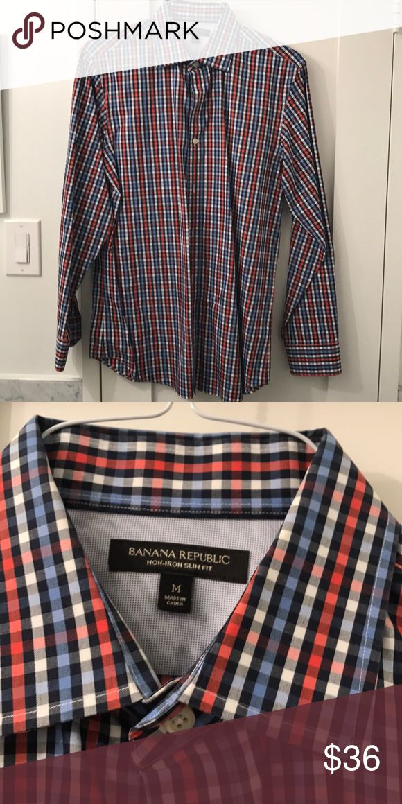 Banana Republic Men's slim fit non-iron shirt Banana Republic Men's slim fit non-iron button down shirt in a red, black, and blue checked pattern. In perfect condition. Banana Republic Shirts Casual Button Down Shirts