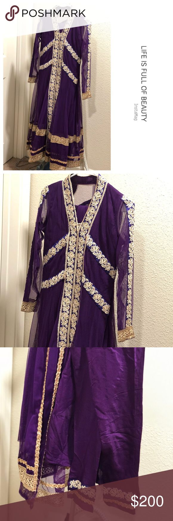 Bollywood style purple color 3 piece indian outfit This Purple Anarkali suit is perfect for any occasion 😘. Comes With a Matching Bottom & Designer Dupatta. Just worn once for engagement party for few hours. Excellent/ New condition ❣️🎊👌🏽🎉 Dresses
