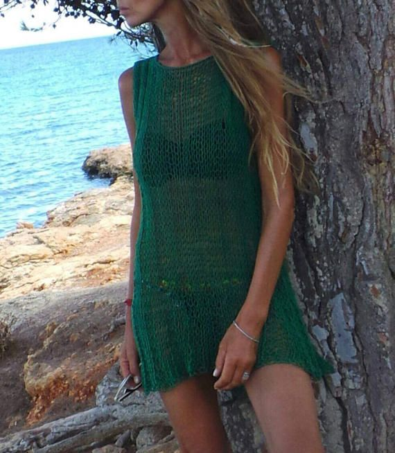 Green Cotton knit dress cover up beach dress cotton by ileaiye