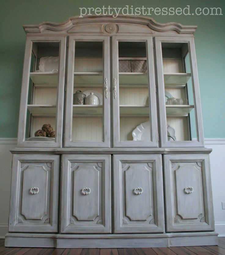 Paris Gray Kitchen Cabinets: Hutch Makeover With Annie Sloan Chalk Paint In Paris Grey And Old White.