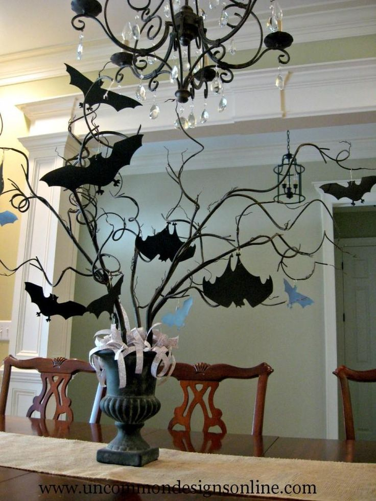 DIY: Paper Bat Halloween Tree. Halloween Bat & Boo Ball Theme Party Decorations & Ideas