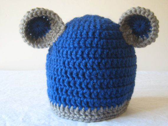 Blue and Gray Baby Boy Hat Baby Bear Hat Bear Hat by BabySkeins, $15.00
