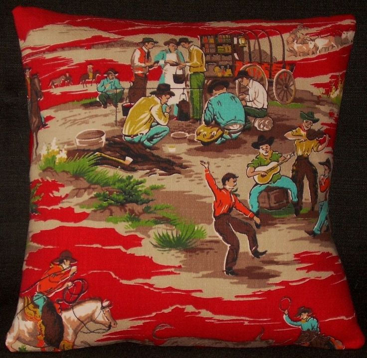 Mid Century Western Pillow Cover Barkcloth Cowboys Cattle Den Throw Wild West