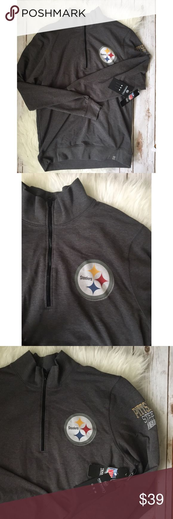 NWT men's Pittsburgh Steelers NFL sweatshirt large New with tags size Large men's NFL Pittsburgh Steelers half zip grey sweatshirt. Just like the picture, but it says steelers on the arm! Sweaters