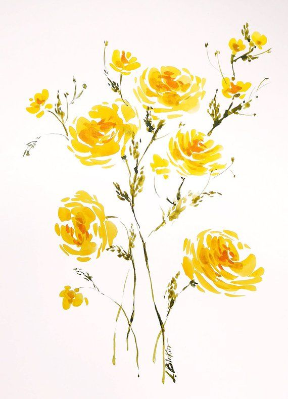 Yellow Flowers Art Original Watercolor Painting Floral Wall
