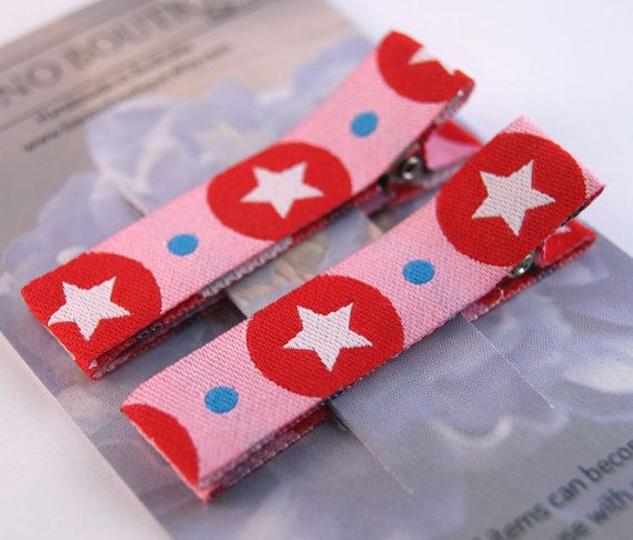 Non-Slip Hair Clips Pair Pink Stars Farbenmix by BacinoBoutique