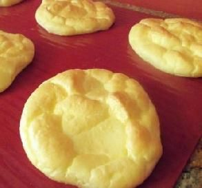 "Carb-Free Cloud Bread-I have made this MANY times when doing low-carb diets.  Its the perfect bread substitute with virtually no carbs.  After the first time you make it, you'll find it super easy.  You can do it in ""buns"" as shown here, Or I used to spread it into a cookie sheet lined with parchment and cut it into squares for ""slices"" of bread."
