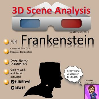 Make your Frankenstein Unit dynamic with this creative co-operative learning project. My 3-D Scene Analysis allows the student to pick apart a scene from this classic novel, isolate significant literary elements, and present them in an engaging way. The activity is standards based and it will lead the student team through conversations about characterization, theme, setting, tone, word choice, and mood discourse.