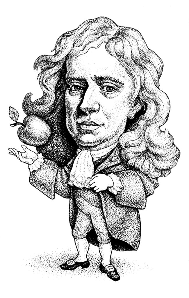 caricature isaac newton coloring page
