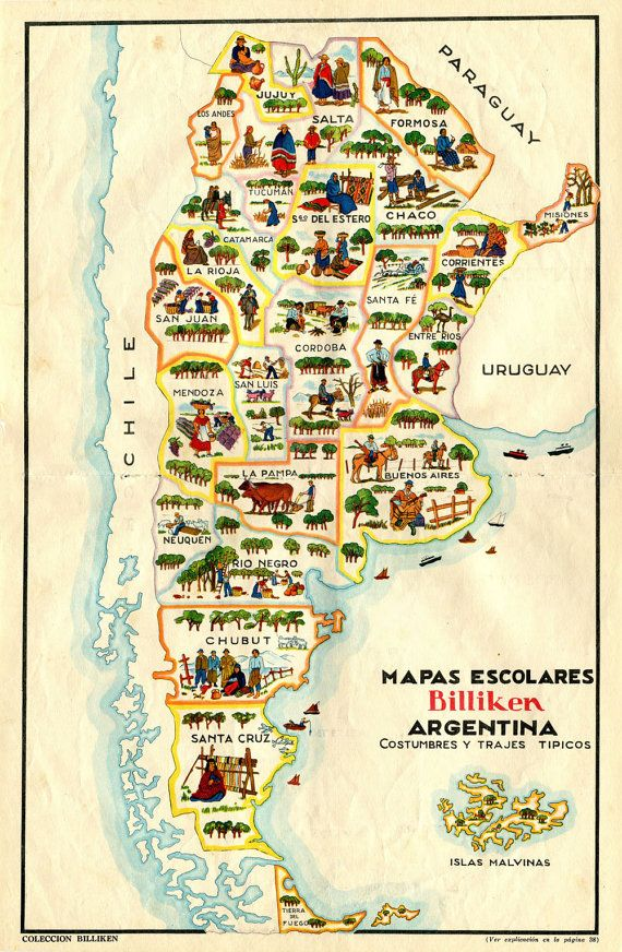 An illustrated map of Argentina featuring its provinces, their products and costumes. The source of this map is Billiken, a weekly magazine for