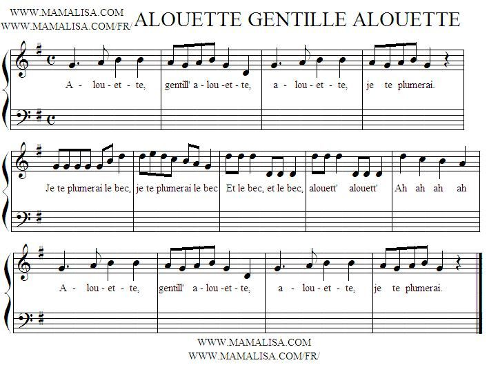 "Alouette"" is a popular French Canadian[1] children's song originating in France about plucking the feathers from a lark."