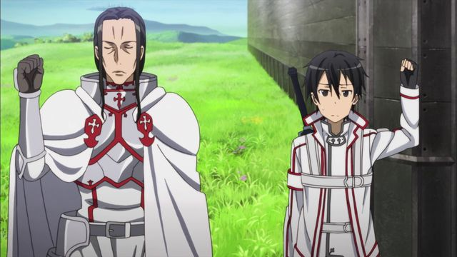 sword art online funny   Kirito and Kuradeel glare at each other. This is why they can't get ...