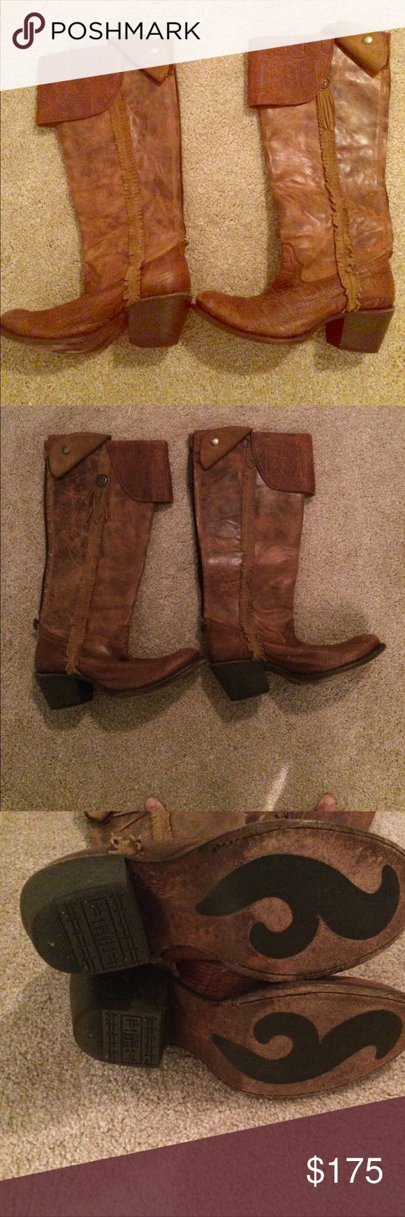 Corral Vintage Boots Tan fray boots. Good used condition! No box. Corral Vintage Shoes Combat & Moto Boots