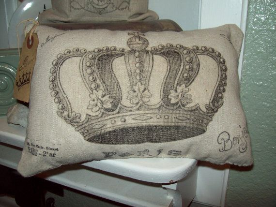 Small Shabby Chic Pillows : Shabby chic French crown small pillow vintage looking,Paris decor,Fre?
