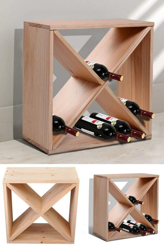 Wood Wine Rack 24 Bottles Stand Square Storage Holder Living Room