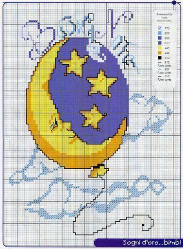 Schema punto croce Luna Stelle Nuvole