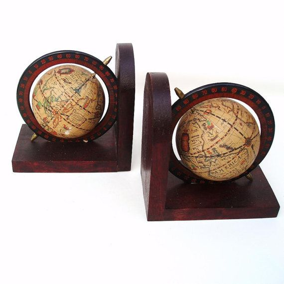 Globe Bookends Old World Globe Book Ends Pair Book Holders