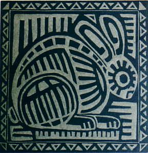 El Conejo, Linocut Copyright 2012 Anne Moore