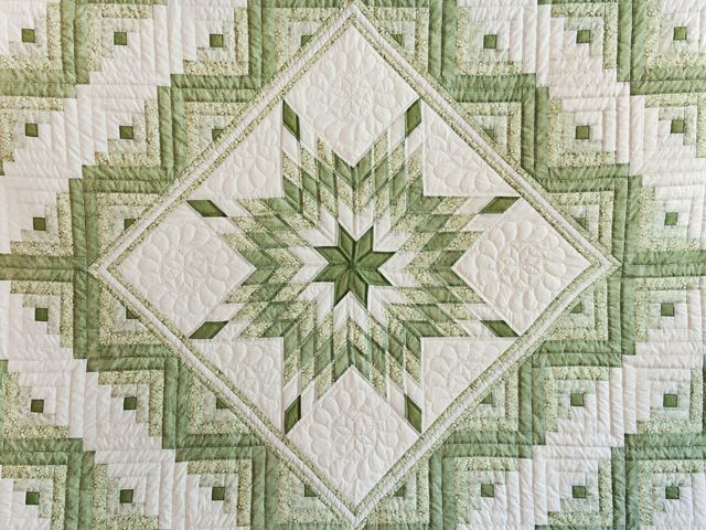 Lone Star Log Cabin Quilt -- terrific smartly made Amish Quilts from Lancaster (hs6788)
