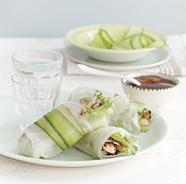Spiced chicken, avocado and cucumber rice paper rolls with plum sauce