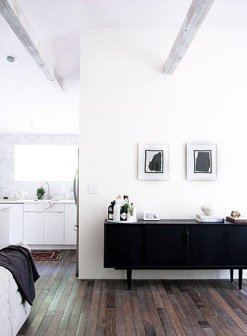 White walls dark floors