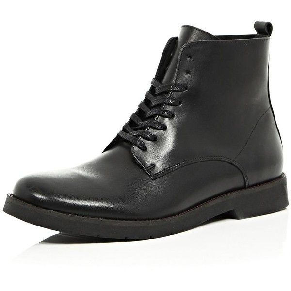 Black leather worker boots ($43) ❤ liked on Polyvore featuring men's fashion, men's shoes, men's boots, sale, mens leather lace up shoes, mens black leather shoes, mens black leather boots, mens leather lace up boots and mens leather shoes