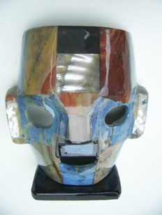 Mexicaans Masker met Parelmoer naar Maya-beschaving