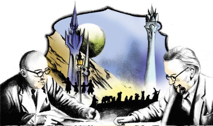 """Técnica Mixta: Grafito + Ilustración Digital. """"Lewis y Tolkien"""" Encargo hecho por diario """"La Tercera"""""""