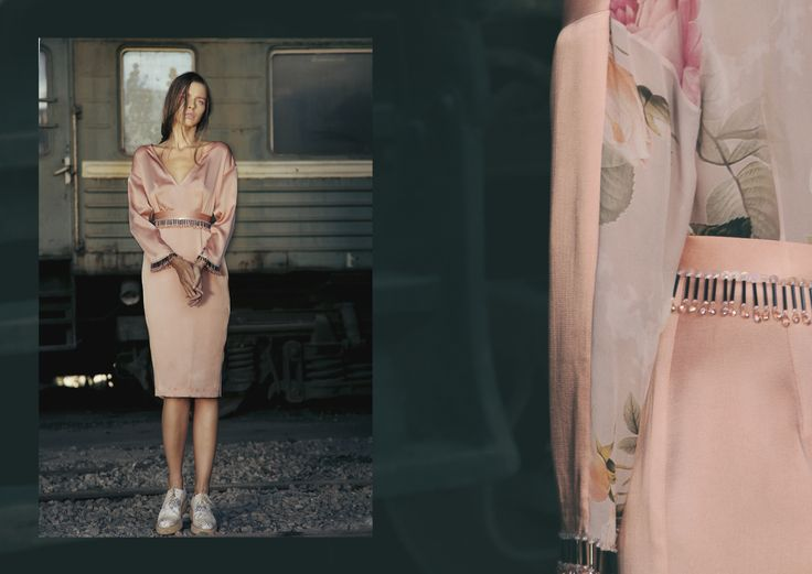 ANOUKI | Peach dress with hand-embroidered waist and chiffon back.