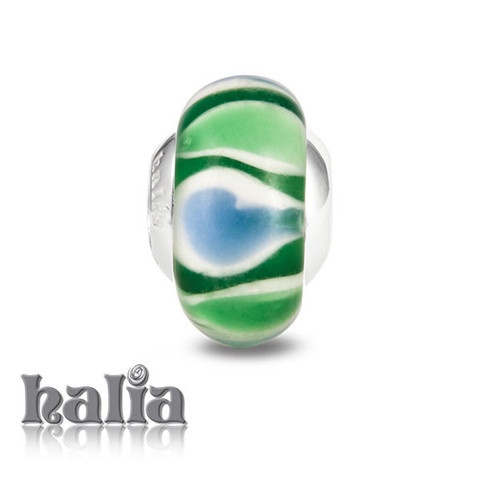 Watercress Sandwich: Fresh greens and blues alternate: murano glass bead on a sterling silver barrel: designed exclusively by Halia, this bead fits other popular bead-style charm bracelets as well. Sterling silver, hypo-allergenic and nickel free.     $36.00