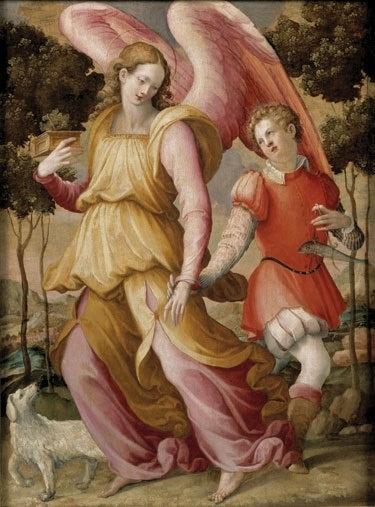 Artist: Attributed to Michele di Ridolfo Title: The Archangel Raphael with Tobias Medium: Tempera on panel Dates: 16th Century Staten Island Museum       Source: http://centuriespast.tumblr.com