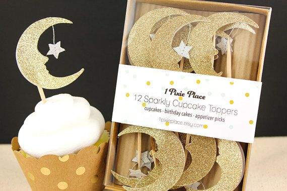 Set of 12 Moon and Star Glitter cupcake toppers. Glitter is on front of topper only.  Moon measures 2 x 2.