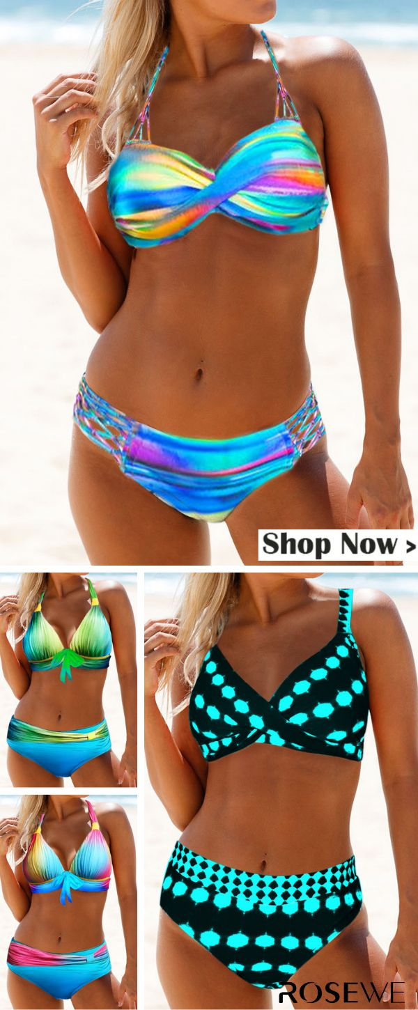 Hot Sale & Printed Cross Front Mid Waist Bikini Set