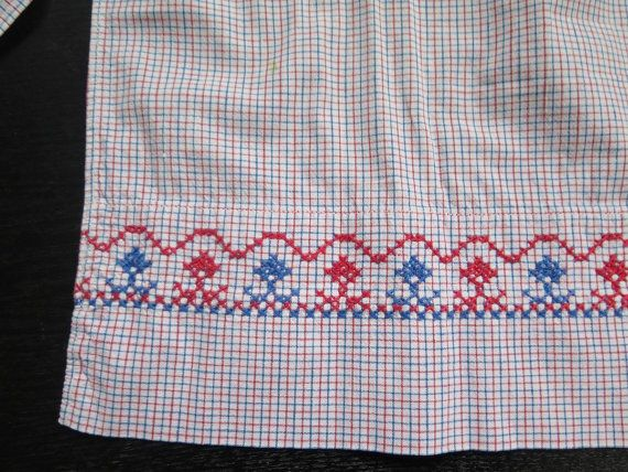Algodón Vintage medio delantal azul rojo por vintageTEXTILESdecor