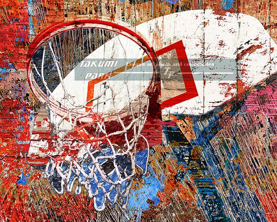 This modern basketball art is  a photo print and can be found on Takumi Park. The basketball artwork comes in different sizes. Custom sizes of this basketball picture are available. $15.88 and up.