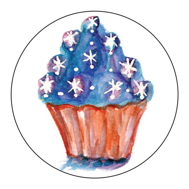 Stickers Red White & Blue Stars Cupcakes  - 1 Sheet of 24 by OrangePeelPaperie on Etsy