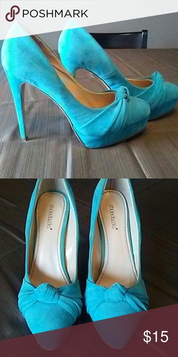 Shoe dazzle High Heels*Final Drop Blue velour shoe dazzle 4inch heel Shoe Dazzle Shoes Heels