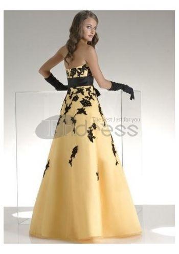 avtagbar båge och en linje kjol golv långa balklänningar