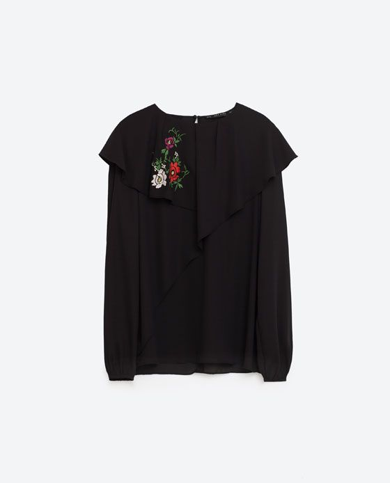 Image 8 of DOUBLE FRILL EMBROIDERED TOP from Zara