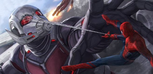 Concept art shows 'Spider-Man' Vs 'Giant-Man' in 'Captain America: Civil War' (2016)