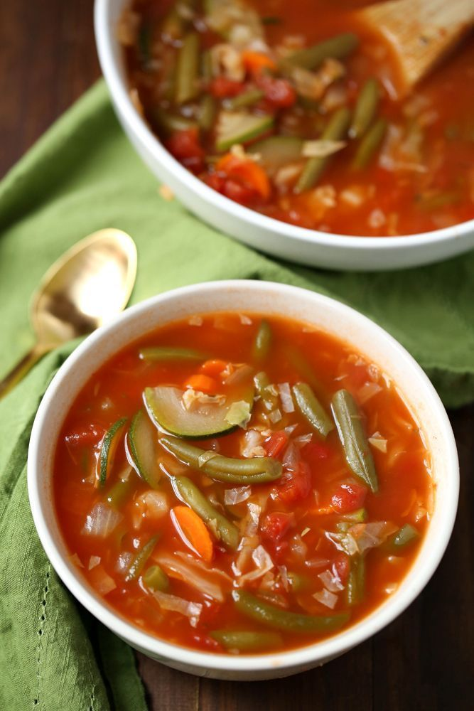 Weight Watchers Zero Point Soup - vegetable broth, minced garlic, tomato paste, diced tomatoes, cabbage, white onion, carrot, green beans, zucchini, oregano, pepper