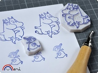 Moomin handcarved stamps by memitherainbow
