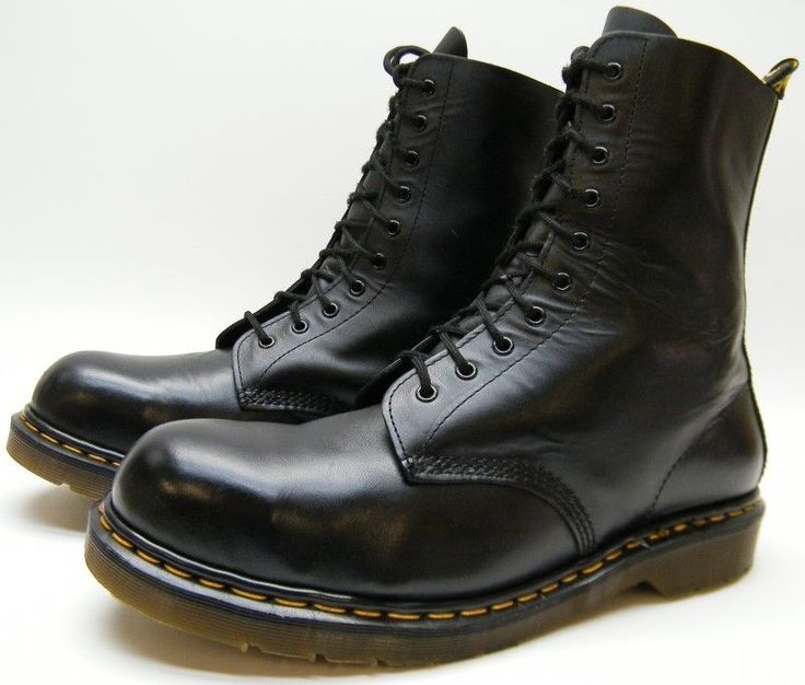 MENS DR MARTENS 1919 ENGLAND BLK LEATHER STEEL TOE 10 EYE WORK BOOTS SZ 12 M 12M #DRMARTENS #Motorcycle