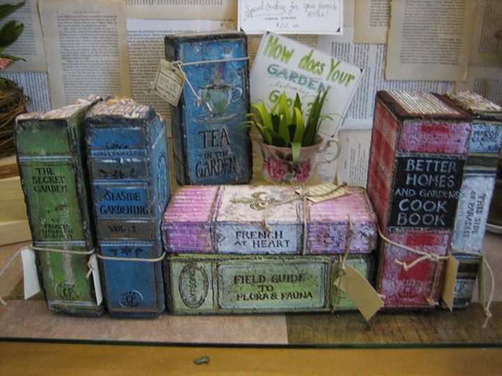 bricks painted to look like books