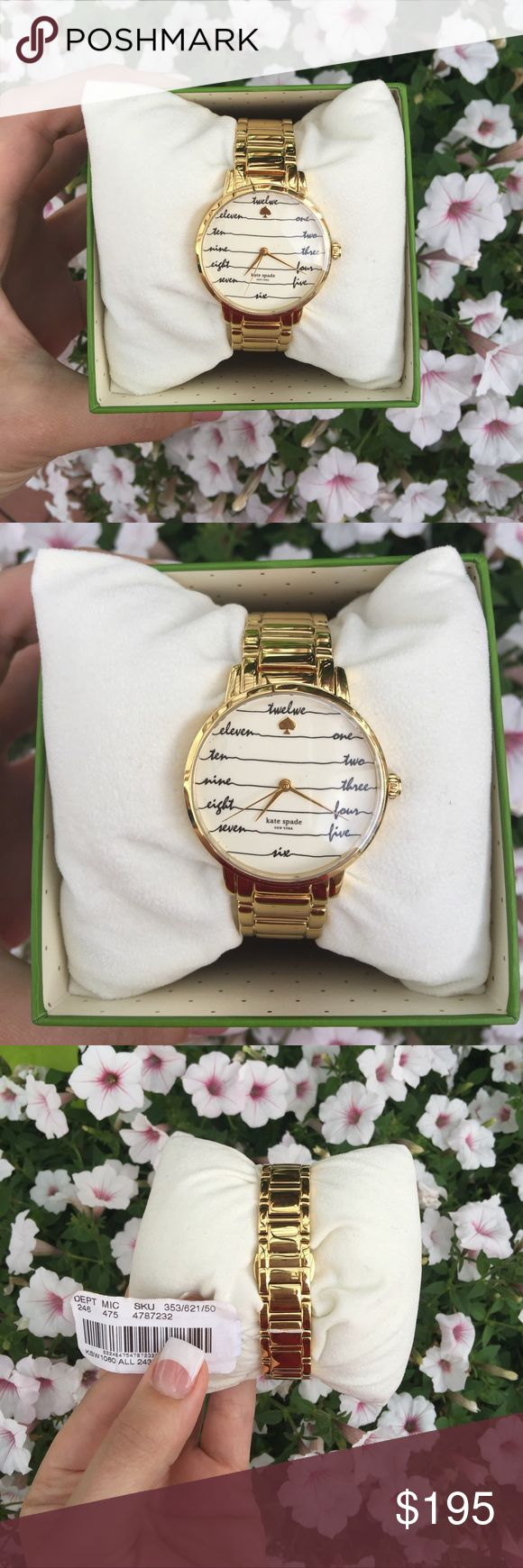 1DAY SALE Kate Spade Gramercy Gold-Tone Watch SALE PRICE IS FIRM AND IS VALID 9/3 ONLY! NWT! This Kate Spade watch is stunning with its gold tone stainless steel bracelet and cream dial with black script numbers, gold tone Kate Spade twelve o'clock, three hands, and Kate Spade logo. The case is 34mm and the watch is water resistant up to 30 meters. Style #: KSW1060. Comes with Kate Spade watch box, Kate Spade watch pillow, and authenticity booklet. No trades. No PayPal! kate spade…